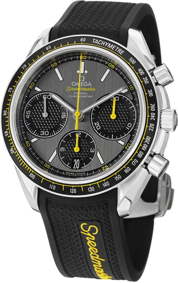 Men Watches : Omega Speedmaster Racing Grey Dial Black Rubber Mens Watch 32632405006001 Omega Watches