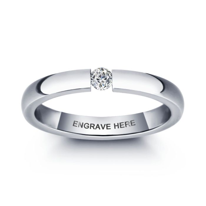 Post Included Aus Wide and to most international countries! >>>  Personalised Ladies Silver Titanium Promise Ring with Cubic Zirconia