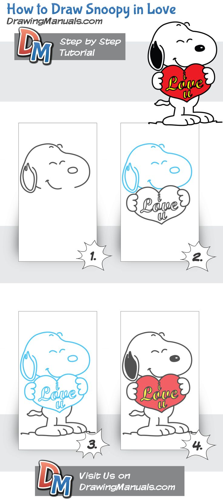 How to Draw Snoopy in Love, Snoopyvalentine http://drawingmanuals.com/manual/how-to-draw-snoopy-in-love/