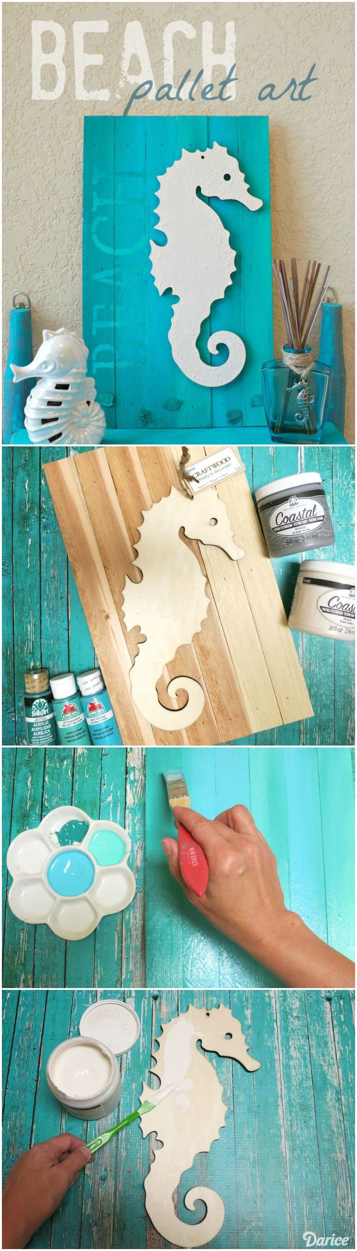 Bring the feel of the beach into your home with this seahorse beach pallet art. It will make a fun addition to your home or patio decor this summer.