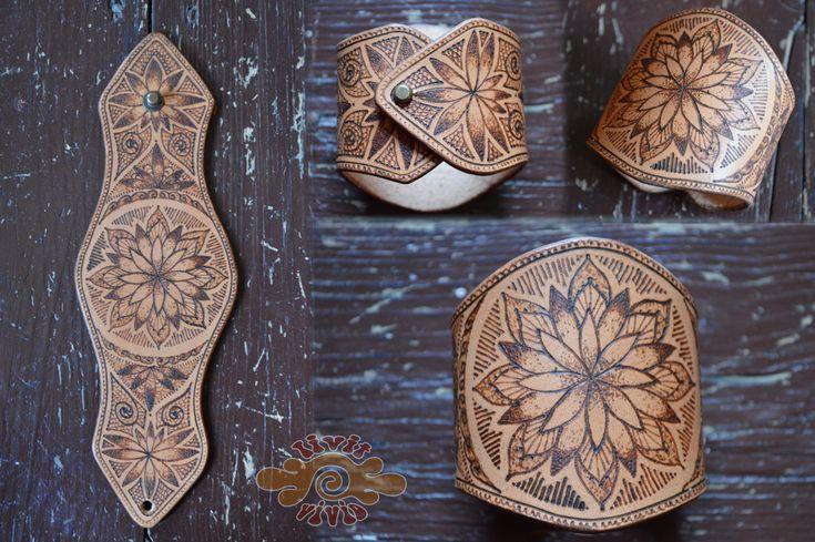 Burned leather mandala cuff ~ pyrography ~ Livit Vivid
