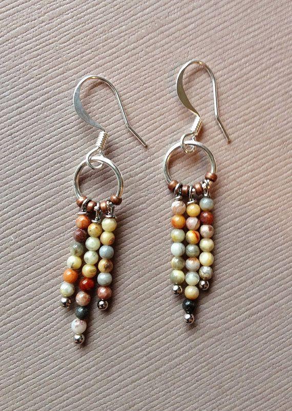 Ocean Jasper and Silver Small Dangle Earrings
