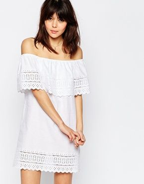 ASOS Broderie Off Shoulder Sundress