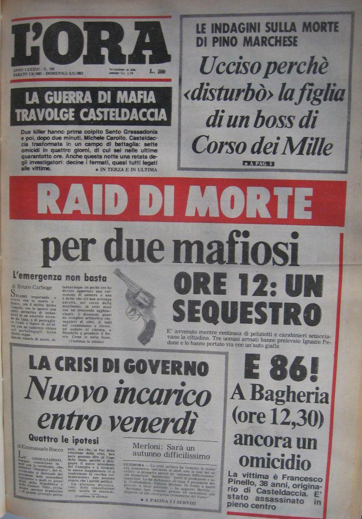 7 agosto, L'Ora, prima pagina