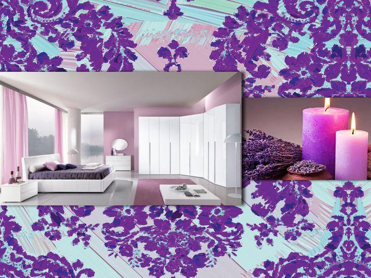 Orchidea, giacinto e viola: una tavolozza dagli aromi floreali, perfetta per una camera da letto molto femminile! Accendi delle candele profumate e goditi un ambiente da sogno, dove si respira aria di primavera. Bello ed elegante, vero? #pink #palette #colourfull #bedroom #interiordesign