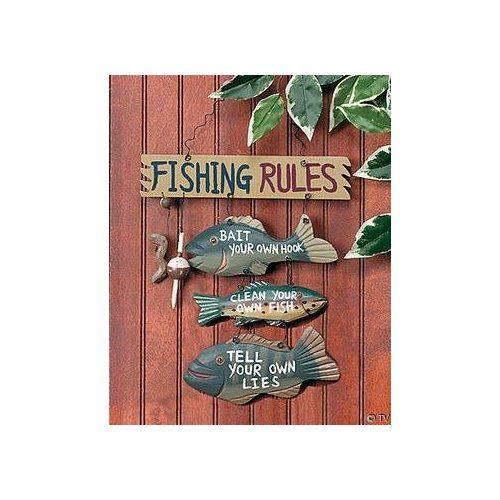 Fathers day gifts wood fishing rules sign sports for Fishing gifts for dad
