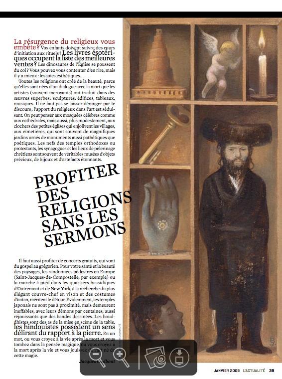 """Silver winner in Spot #Illustration. """"Profiter des Religions sans les Sermons"""" by Gérard Dubois in #L'Actualité, 2009."""