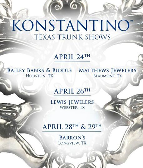 For all you Konstantino aficionados in the great state of Texas, we have some incredible events lined up just for you. Come take a peek at our sumptuous jewels that are sure to delight!
