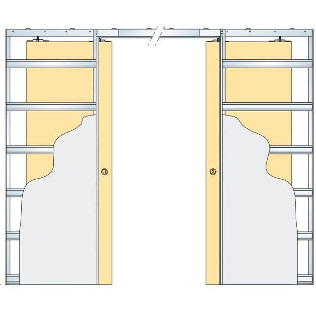 Eclisse Glass Sliding Pocket Door System Double Door Kit Supplied With Glass Doors 100mm Finished Wall Thickness Sliding Pocket Doors Pocket Doors Internal Sliding Doors
