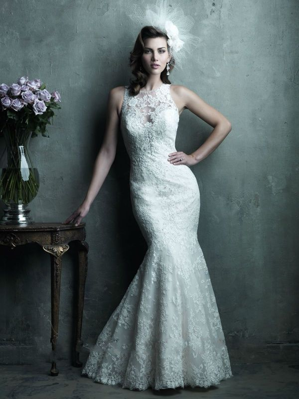Discount Classic Sleeveless Back Covered Ivory Lace Trumpet/Mermaid Wedding Dresses High Neck Free Measurement