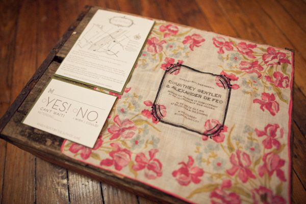 its not too late! I already have my save the date cards but still need formal invites and I do love this!! they wrapped vintage handkerchiefs with screen print on the front around the reply cards and a map! Style Me Pretty | Gallery