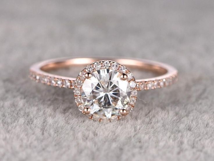 Classic Halo Moissanite engagement ring, rose gold, 14 ct., 7 mm, Moissanite …