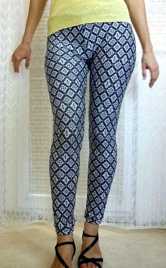 Womens Yoga Leggings, Blue Leggings, Geometric Print Leggings Organic Leggings Blue and White Leggings Pattern Leggings Workout Pants Tights