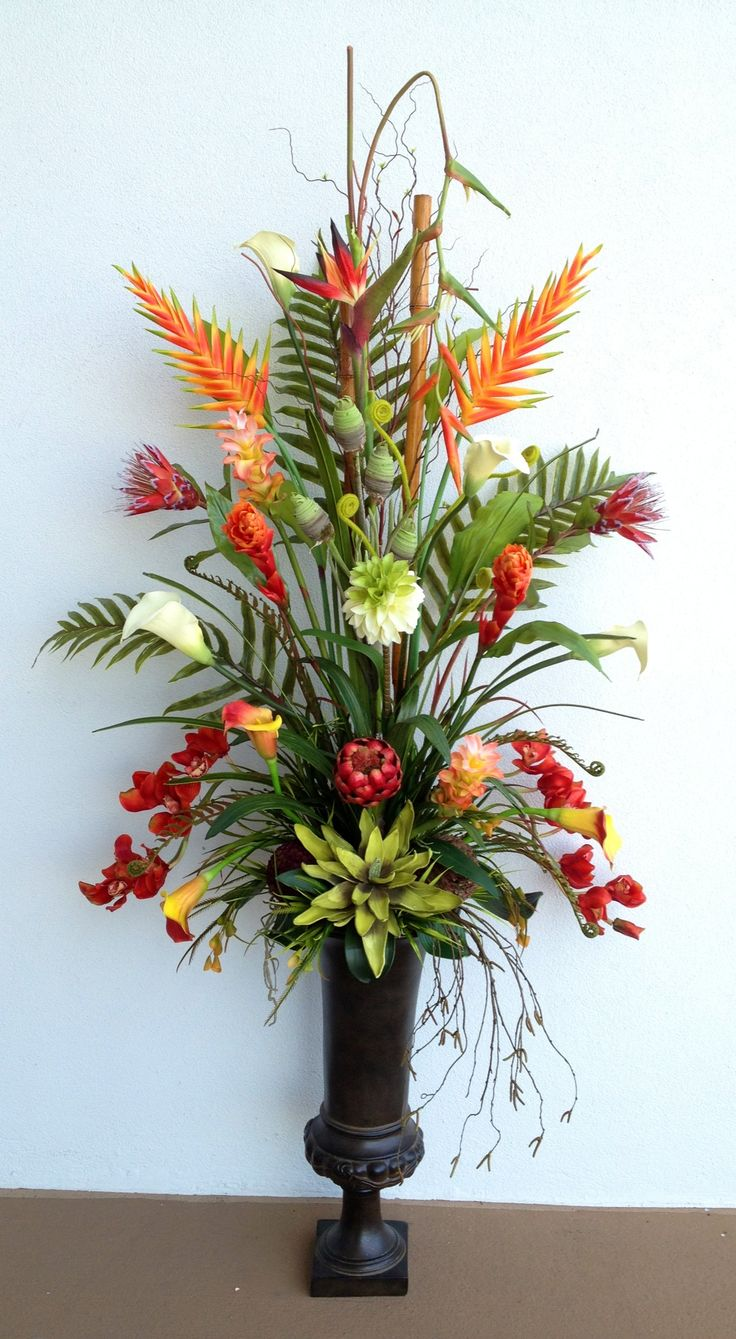 tropical large floral arrangement designed by arcadia floral home decor - Silk Arrangements For Home Decor