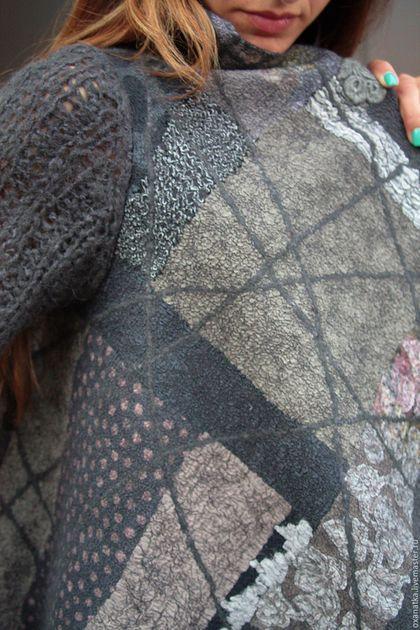 Кофты и свитера ручной работы. Валяный кардиган Рисунки на асфальте-2. FeltOx ( Оксана Ткаченко). Ярмарка Мастеров.