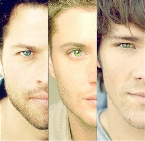 Blue. Green. Bluegreen.  Misha. Jensen. Jared.  Eyes.