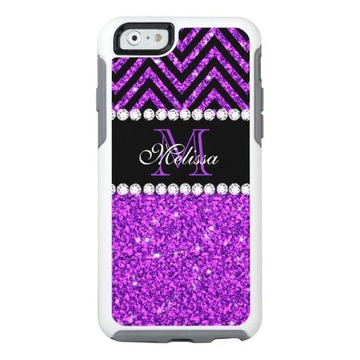 Purple Glitter Chevron Monogram Name OtterBox iPhone 6/6s Case