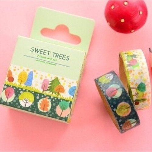 2 washi tape - sweet trees - japanese design trees