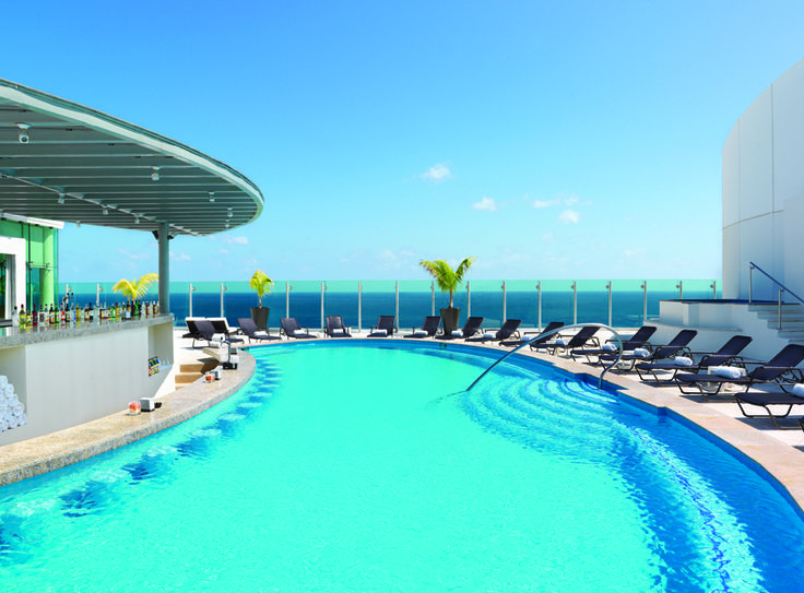 The stunning Sky View Pool at the Beach Palace Cancun Resort.