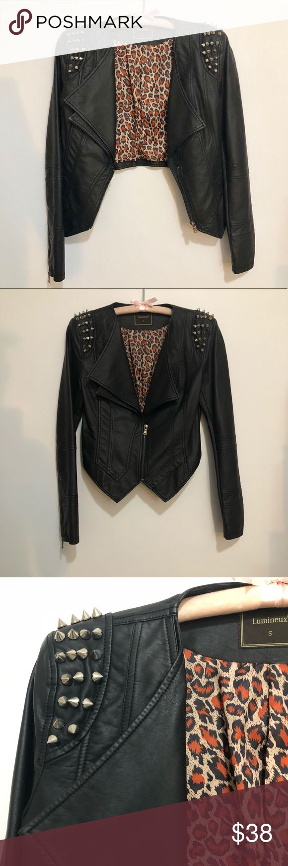 Spiked Leather Jacket Super edgy leather jacket to make a statement. Leopard printed lining. In perfect condition. Can wear it open or closed. Lumineux Jackets & Coats