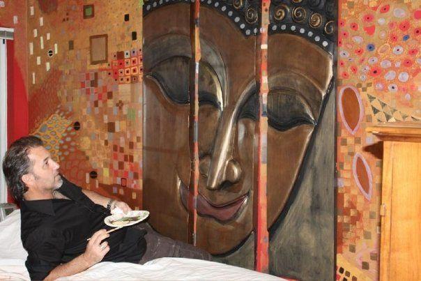 Gustav Klimpt inspired Master Bedroom wall. Hand painted