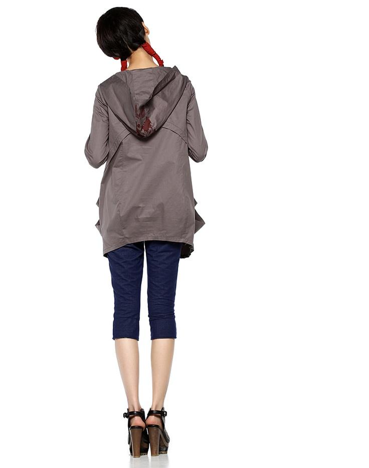 Liebo New Printing Hood Wind Coat