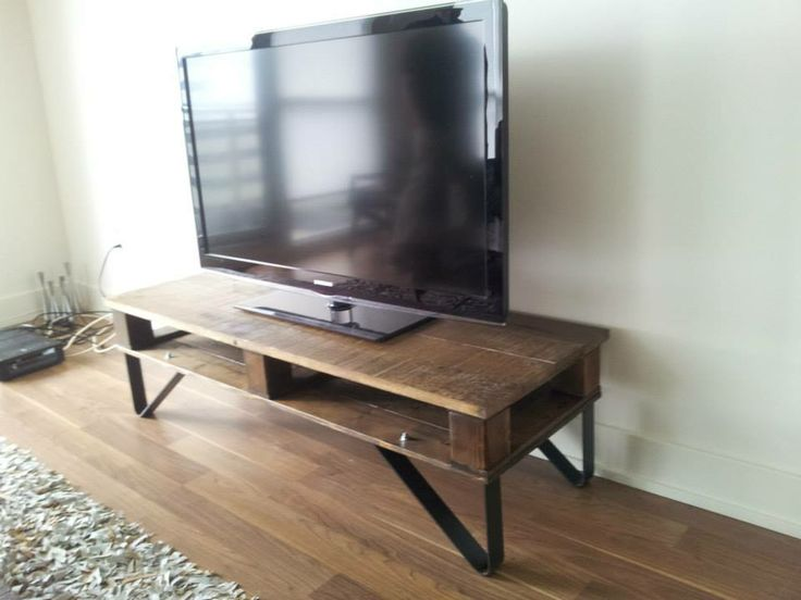 Custom TV Stand on Iron Anvil Legs. So manly!