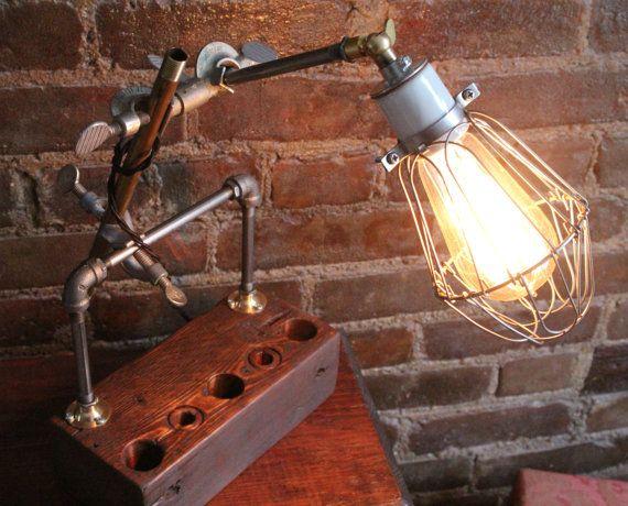 Industrial desk lamp desk organizer / accessory by BrooklynWeal, $125.00