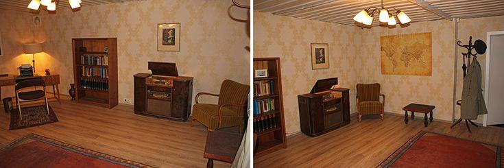 Authentische Einrichtung: Der untere Raum (in aufgeräumten Zustand) stellt ein Büro aus den 1960er Jahren dar.  http://blog.bremen-tourismus.de/team-escape/