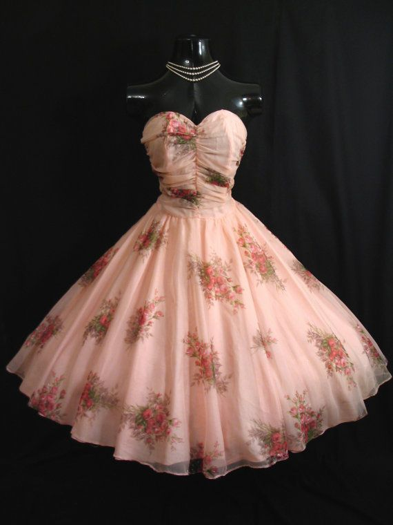 Vintage 1950's 50s STRAPLESS Bombshell Pink Floral Roses Chiffon Organza Party Dress