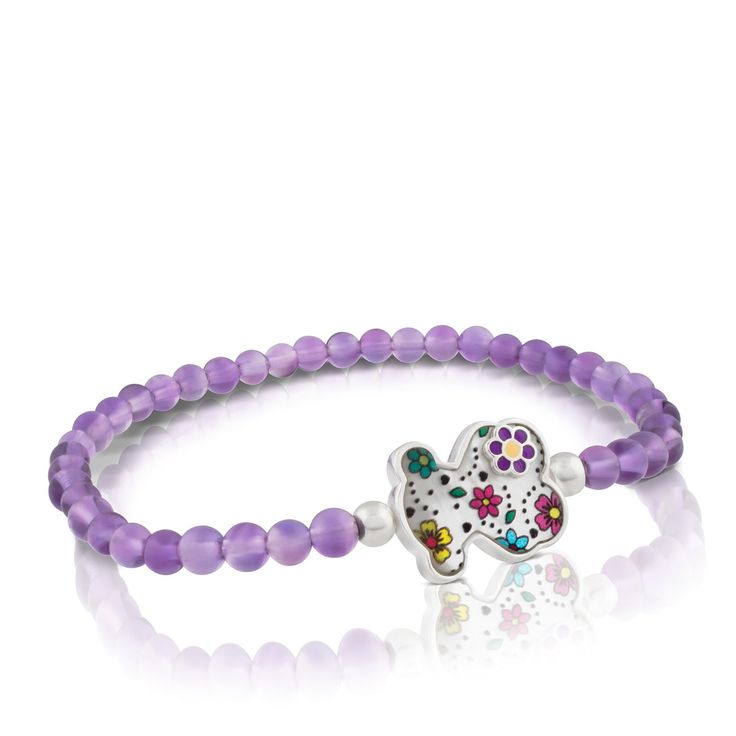 Sterling silver TOUS Sugar bracelet with mother of pearl, amethysts and gemstones