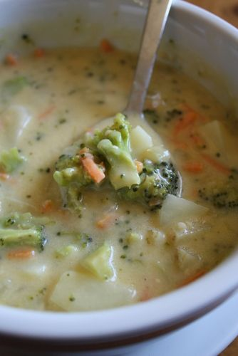 Cheesy Vegetable Chowder ~ Lulu the Baker Use olive oil instead of butter, and half the cheese