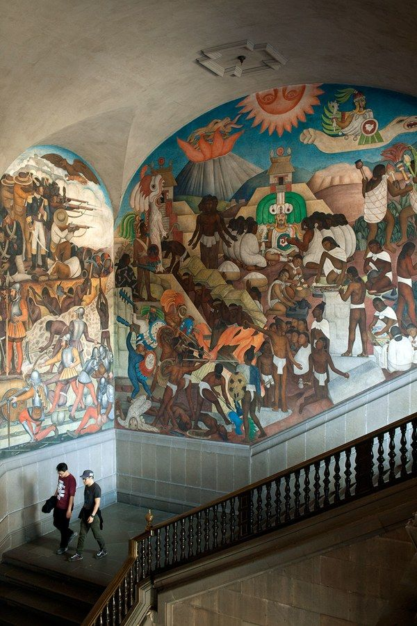 It took Diego Rivera more than two decades to complete the murals in the Palacio Nacional. Spanning 2,000 years of Mexican history—as seen by Rivera—the sweeping works depict everyone from the Aztecs to Karl Marx.
