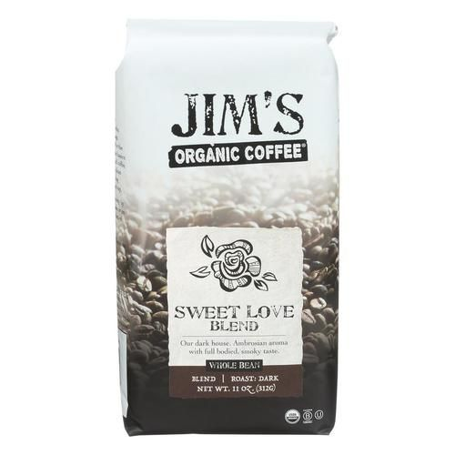 Jim's Organic Coffee - Whole Bean - Sweet Love Blend - Case Of 6 - 11 Oz. - 1791607