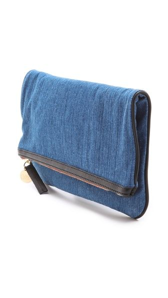 CLARE VIVIER Fold Over Denim Clutch