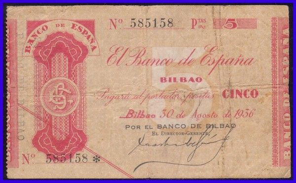 Spain - 1936. - GC - bilette - 5 p, Bilbao