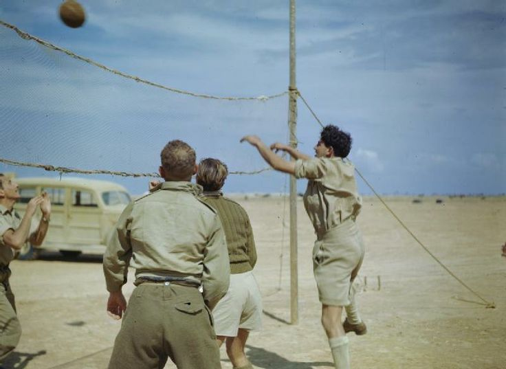 THE SOUTH AFRICAN AIR FORCE IN THE NORTH AFRICAN DESERT, APRIL 1943. Pilots of the South African Air Force play volley ball between attacks on the Mareth Line. Pin by Paolo Marzioli