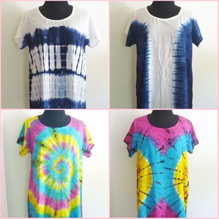 Tie dye shirt Mini dress M/L chest 38 inch indigo blue colorful Side cut shirt #Unbranded #Blouse #Casual