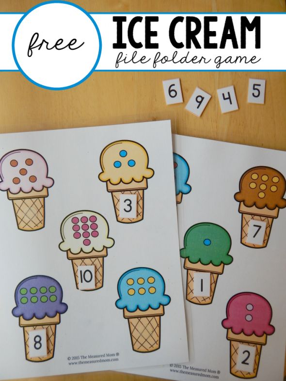 Free file folder game for preschoolers: Ice Cream Count & Match #1-10 First week activity in Kindergarten? Summery, fun, telling...
