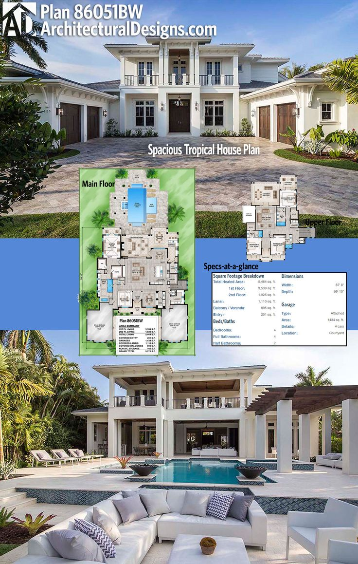 Check out all the outdoor spaces in back of Architectural Designs Luxury House Plan 86051BW. The home has over 1,100 square feet of covered lanais and almost 900 square feet of covered balconies. Ready when you are. Where do YOU want to build?