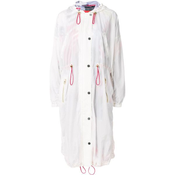 Tommy Hilfiger Printed Lining Hooded Raincoat 595 Liked On Polyvore Featuring Outerwear Coats White Trans Designer Trench Coats Trench Coats Women Coat