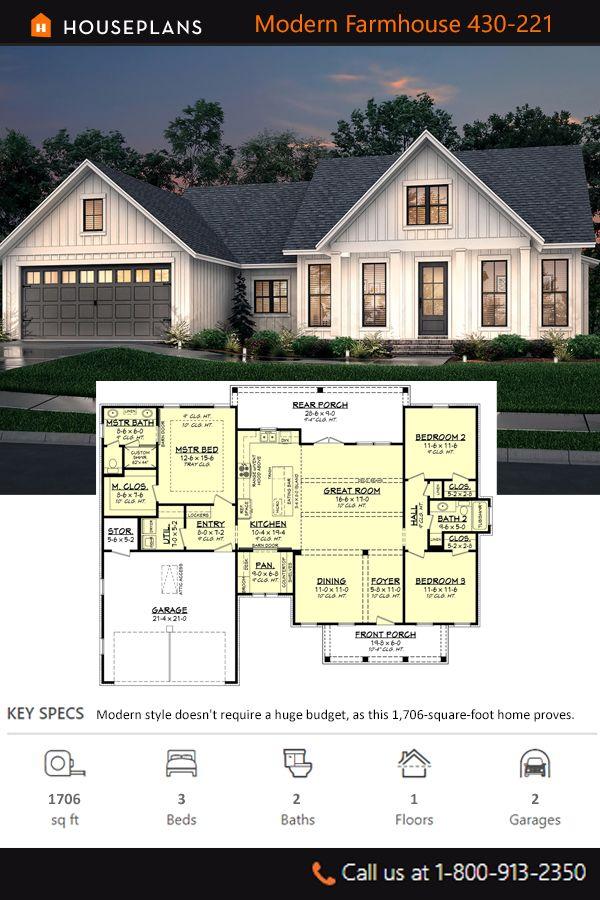Farmhouse Style House Plan 3 Beds 2 Baths 1706 Sq Ft Plan 430 221 House Plans Farmhouse Farmhouse Style House Plans Modern Farmhouse Plans