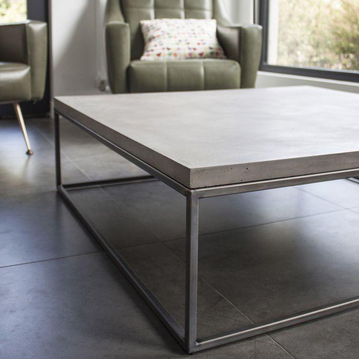 table basse béton et métal perspective 100x100x27   perspective