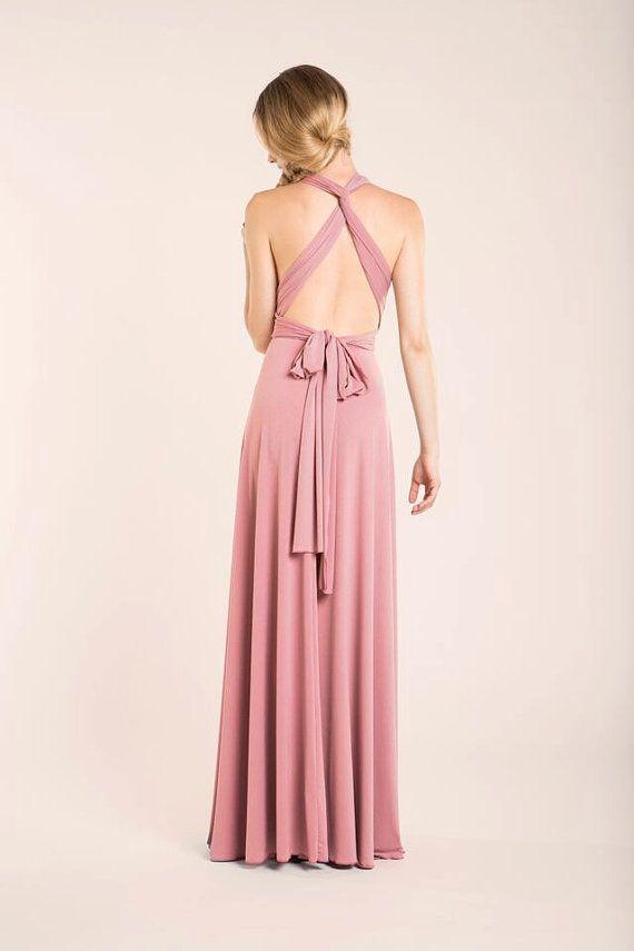 Lange Kleid Puder Rosa Brautjungfer Brautjungfern von mimetik