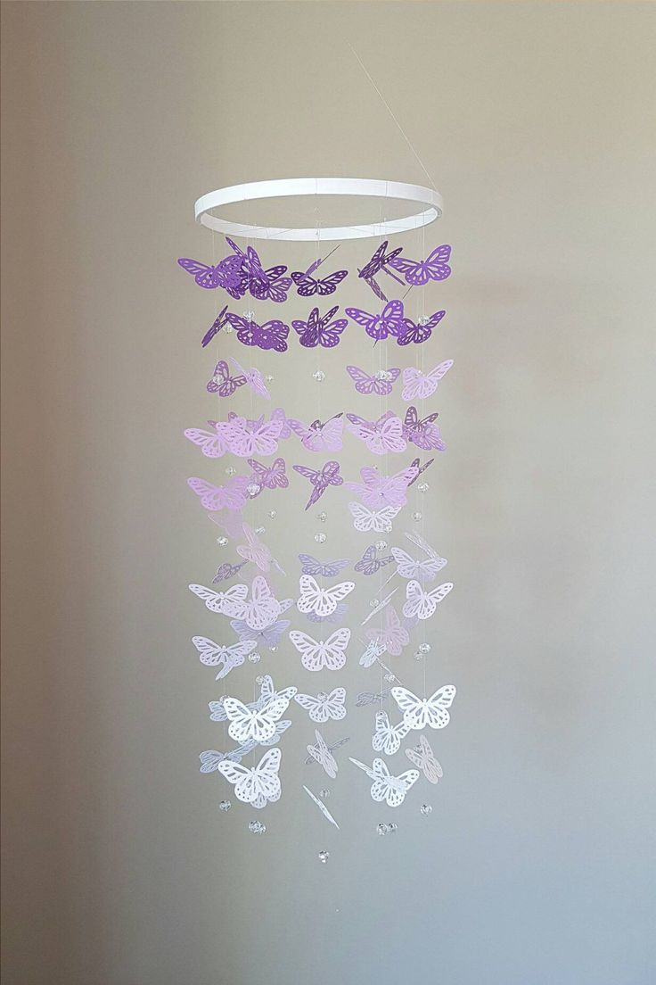 Purple Ombre Butterfly Mobile with Crystal Beads - Butterfly Ornament Decoration - Nursery Baby Room - purple butterflies by InspiredByAbby on Etsy https://www.etsy.com/listing/208728626/purple-ombre-butterfly-mobile-with
