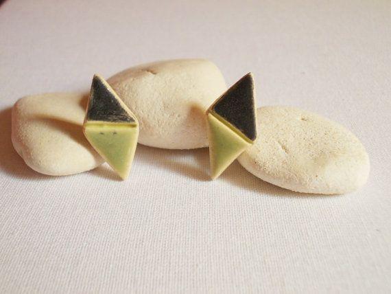 Geometric studs//Ceramic earrings//Porcelain by CherishCeramics