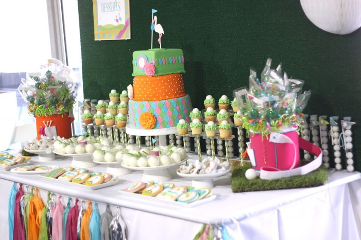 "Celebration ""Fore"" Baby - a golf-themed #babyshower: Baby Shower Desserts, Dessert Tables, Golf Themed Babyshower, Operation Shower, Themed Baby Showers, Pga Theme, Golf Baby Showers, Rhyme Babyshower, Party Ideas"