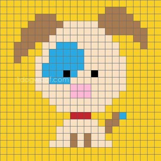 Zoodiacs Dog C2c Crochet Graph C2c Crochet Cross Stitch Embroidery Cross Stitch