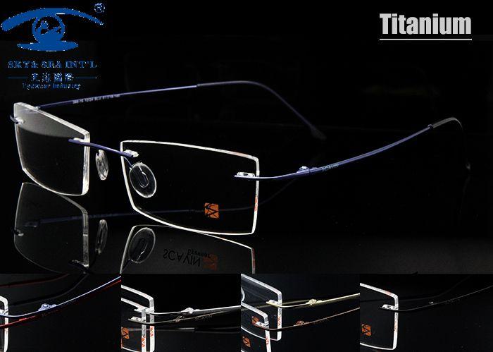 """Scavin"" Prescription Optical Frame Men Women Unisex Lightweight Memory Flexible Rimless Titanium Eyeglass Frames for Men"