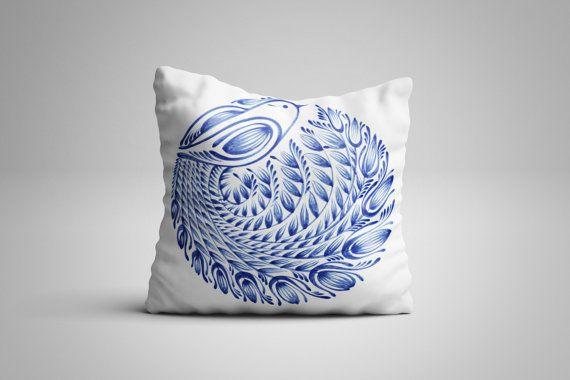 Blue Bird Cushion. 12 x 12 inch Cushion by NJsBoutiqueCo on Etsy